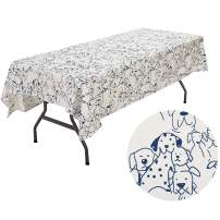 UOMNY Picnic Tablecloths Cotton Cartoon Dog Style Table Cloth Kitchen Rectangular Table Cover Home Dining Room Kitchen Rectangular Tablecloths Cafe Tablecloth,60X84 Inch Blue Dog Birthday Table Cover