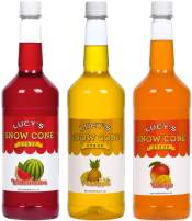 Lucy's Shaved Ice Snow Cone Syrups - Watermelon, Pineapple, Mango - 32oz Syrup Bottles (Pack of 3) (Tropical Pack)
