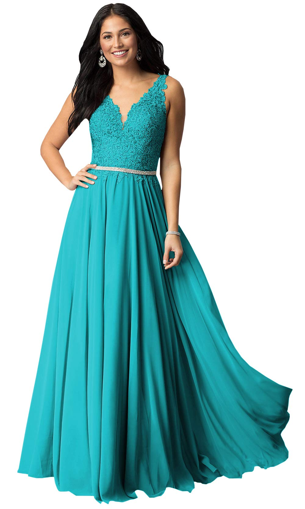 Now and Forever Plus Size A-Line Beaded Belt Bridesmaid Dresses Long for Women Formal Prom Gown (Aqua,18W)