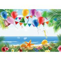 Allenjoy 7x5ft Hawaii Summer Tropical Beach Photography Backdrop Colorful Balloons Aloha Luau Party Seaside Scenery Background Birthday Party Baby Shower Banner Cake Dessert Table Decors Photo Props