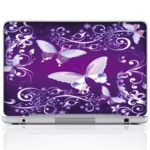 Meffort Inc 15 15.6 Inch Laptop Notebook Skin Sticker Cover Art Decal (Free Wrist pad) - Purple Butterflies