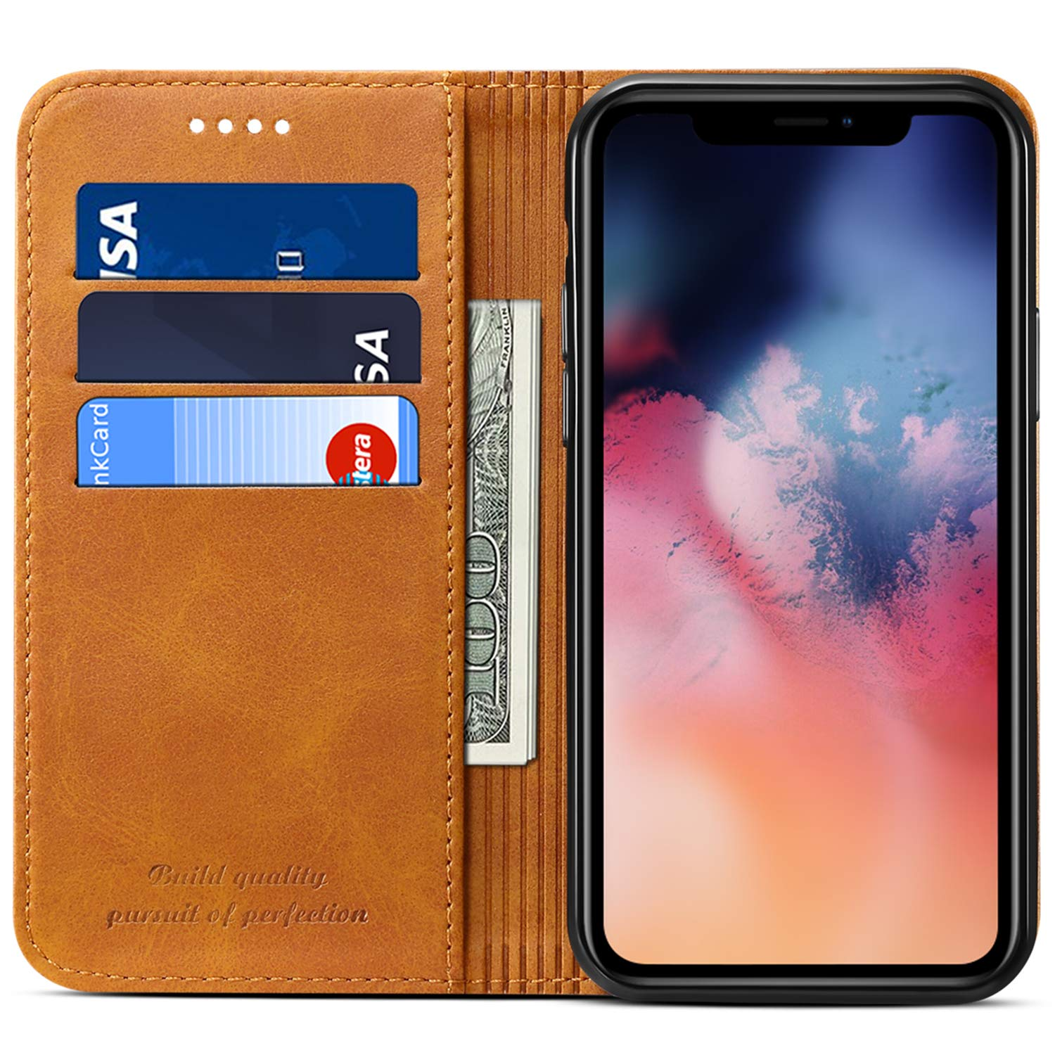 Wallet Case Flip Cover for 2019 iPhone 11 Pro Max, Kickstand Magnetic PU Leather Book Style ID Credit Card Holder Phone Case, 6.5 inches, Khaki