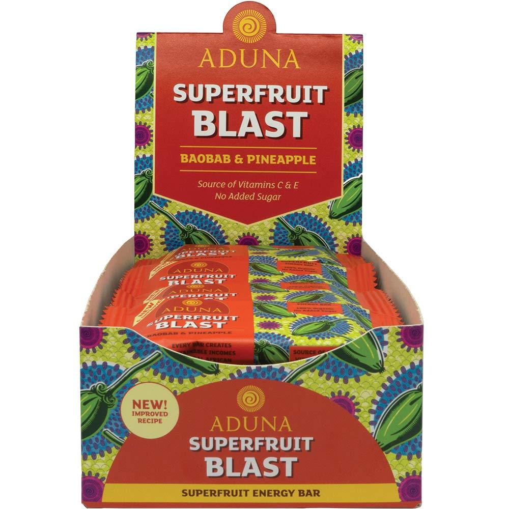 Aduna Superfruit Blast - Organic Energy Bar with Baobab and Pineapple, 40g - (Pack of 16 Bars)