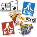Atari Classic Video Games Collectible Stickers with Asteroids, Pong and Football