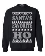shop4ever Santa's Favorite Ho Crewnecks Ugly Christmas Sweatshirts