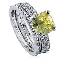 BERRICLE Rhodium Plated Sterling Silver Canary Yellow Cushion Cut Cubic Zirconia CZ Solitaire Engagement Wedding Ring Set 3.37 CTW