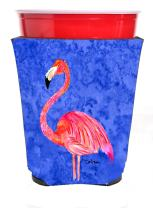 Caroline's Treasures 8875RSC Flamingo on Pink Red Solo Cup Beverage Insulator Hugger, Red Solo Cup, multicolor