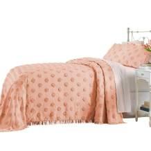 BrylaneHome Pepper Dot Chenille Bedspread - Full, Blush