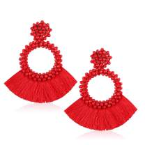 Gushion Statement Drop Earrings for Women Girl Handmade Bohemian Beaded Hoop Round Tassel Thread Fringe Dangle Fashion Jewellery Present for Mom and Sister with Gift Box