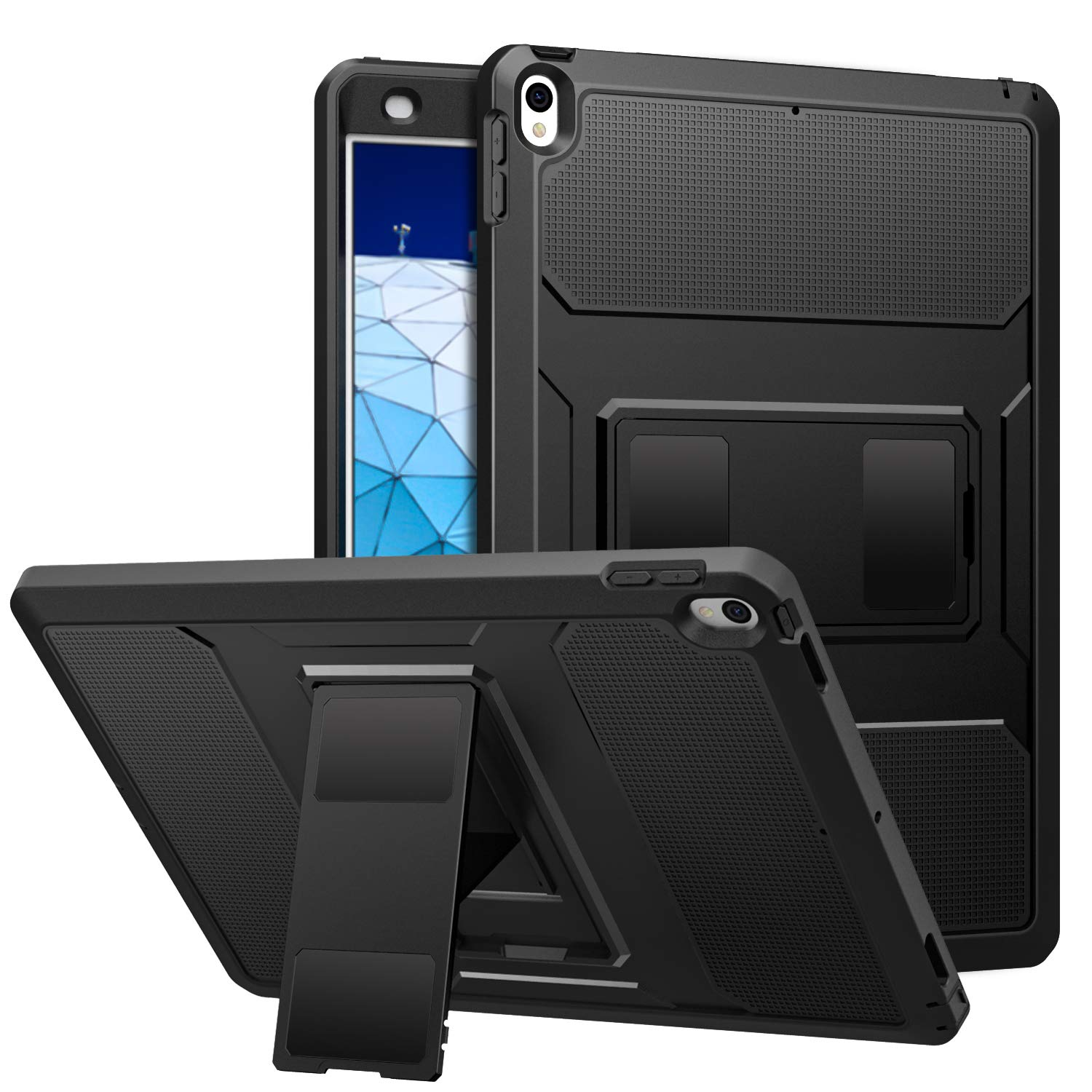 """MoKo Case Fit New iPad Air 3rd Generation 10.5"""" 2019/iPad Pro 10.5 2017, Full-Body Rugged Protective Case with Built-in Screen Protector Design for iPad Air 3 2019 Tablet - Black"""