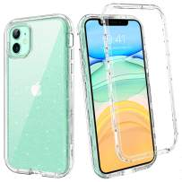 YINLAI iPhone 11 Case 2019 Crystal Clear Glitter 3 in 1 Shockproof Drop Protection Heavy Duty Hybrid Hard PC Cover Bumper Full Body Protective Cases for iPhone 11 2019(6.1 inch),Transpant