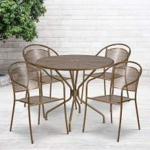 """Flash Furniture Commercial Grade 35.25"""" Round Gold Indoor-Outdoor Steel Patio Table Set with 4 Round Back Chairs"""