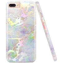 JIAXIUFEN Shiny Change Color Opal Colorful Marble Slim Shockproof Flexible Bumper TPU Soft Case Rubber Silicone Cover Phone Case Compatible with iPhone 7 Plus/8 Plus/6 Plus/6S Plus