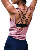 Ekouaer Women Yoga Tank Top Workout Backless Shirt Open Back Shirts Sports Tops Pink