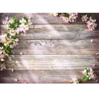LYWYGG 8x6FT Spring Photography Backdrops Photo Studio Props Wood Planks and Flower Theme Photography Background CP-131-0806
