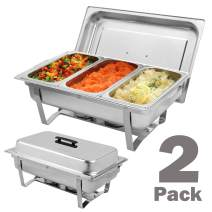 Chafing Dishes Buffet Set Stainless Steel with Lid, 9L/8 Quart Full Size Chafer with Folding Frame, Water Pan, Fuel Holders and 3 1/3rd Size Food Pans - 2 Packs (US STOCK)