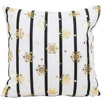 MHB Gold Snowflake Velvet Texture Decorative Cushion Covers 18x18 Inch Throw Pillow Covers