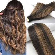 Labhair Tape in Hair Extensions Light Brown Highlighted Dark Brown Balayage Hair Extensions #2/6/2 Remy Real Human Hair Extensions Tape in for Women 14inch 50g 20pcs/Package