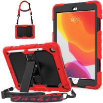 iPad 7th Generation 10.2 Case , iPad 10.2 Case 2019 ,Three Layer Hybrid Shockproof Rugged Drop Protection Case with Stand [Shoulder Strap] &[Stylus Pencil Holder] for iPad 7th 10.2 Inch(Red+Black)