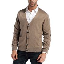 Kallspin Men's Cashmere Wool Blended Cardigan Sweater Relax Fit V-Neck Knitted Sweaters with Buttons & Pockets