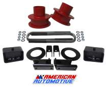 """American Automotive F250 F350 Super Duty Lift Kit 4WD Front Spring Spacers Rear Blocks with Shock Extenders and Sway Bar Drop Bracket (2"""" Front + 2"""" Rear, Red)"""