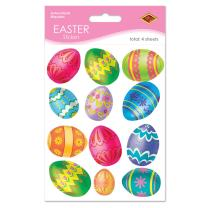 Beistle 44005 4-Pack Easter Egg Stickers Sheet, 4-3/4 by 7-1/2-Inch Sheet