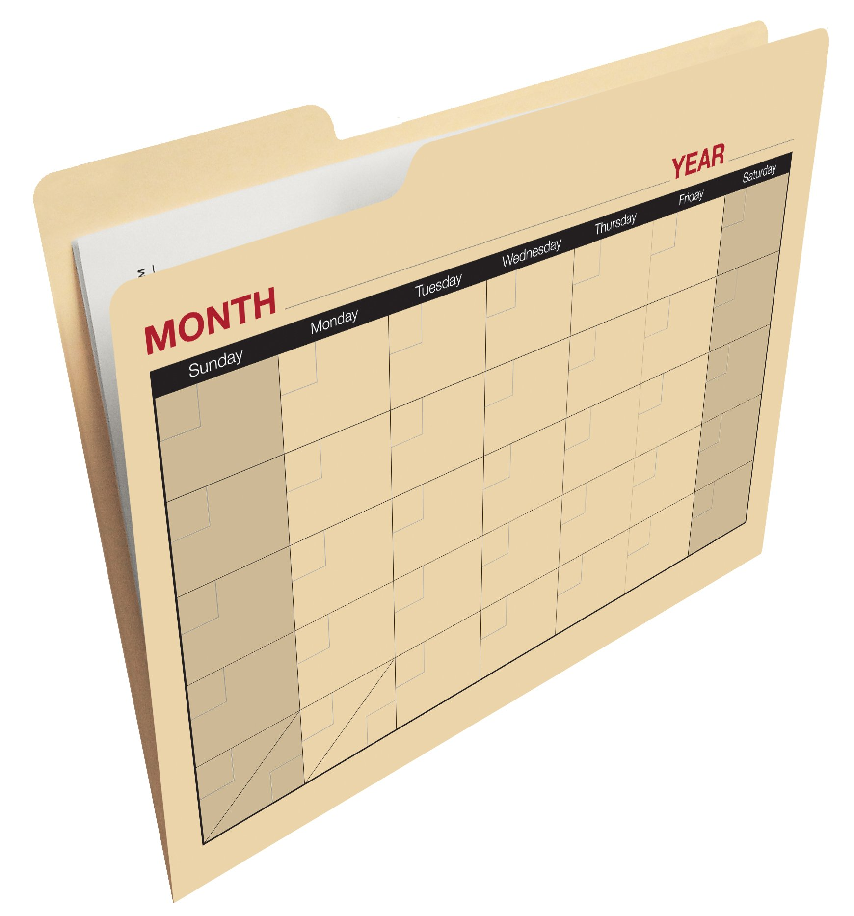 Find-It Calendar File Folders, 12 Pack, Manila (FT07465)