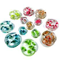 SUPTOP 2Pcs Perfect Handmade Plugs for Ears Beautiful Ear Gauges Real Flower Plugs and Tunnels Size 0G-1 Inch