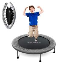 ANCHEER Foldable Mini Trampoline Rebounder, Quiet and Safe Bounce Spring Mini Bouncer Fitness Trampoline Rebounder for Kids Adults in Home/Garden/Office Cardio Trainer