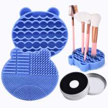 Silicon Makeup Brush Cleaning Mat with Brushes Drying Holder Portable Bear Shaped Cosmetic Brush Cleaner Pad+ Makeup Brush Dry Cleaned Quick Color Removal Sponge Scrubber Tool (Blue)