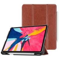 "Fintie Case with Built-in Pencil Holder for iPad Pro 11"" 2018 [Supports 2nd Gen Pencil Charging Mode] - SlimShell Stand Cover with Auto Wake/Sleep for iPad Pro 11 Inch Tablet, Brown"