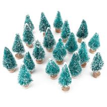 wonuu Artificial Mini Sisal Christmas Trees Snow Frost with Wooden Bases for Home Party Decoration Ornament DIY Craft (Blue-Green, 20 pcs)