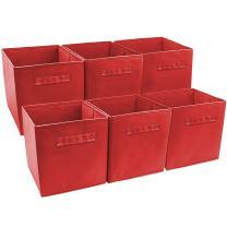 Sorbus Foldable Storage Cube Basket Bin (6 Pack, Red)