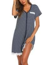Ekouaer Women's Nightgown Striped Tee Short Sleeve Sleep Nightshirt Breastfeeding Loungewear Button Down Pajama Dress