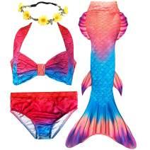 3 Pcs Girls Mermaid Swimsuits for Swimming Christmas Holiday Party Costume Princess Bathing Suit Bikini Tankini Set