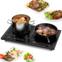COSTWAY 1800W Double Induction Cooktop, Portable Electric Dual Hot Plate, Countertop Burner w/Digital Display, 8 Temperature and Power Levels, Kids Safety Lock, Black