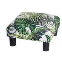 Adeco 15'' Small Ottoman Footstool- Mordern Soft Fabric and Waterproof Faux Leather Footrest (Leaves)