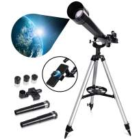 Astronomy Refracting Telescope 60mm Aperture and 800mm Focal Length for Kids, Adults & Beginners to Explore Universe, with Moon Filter & Phone Adapter