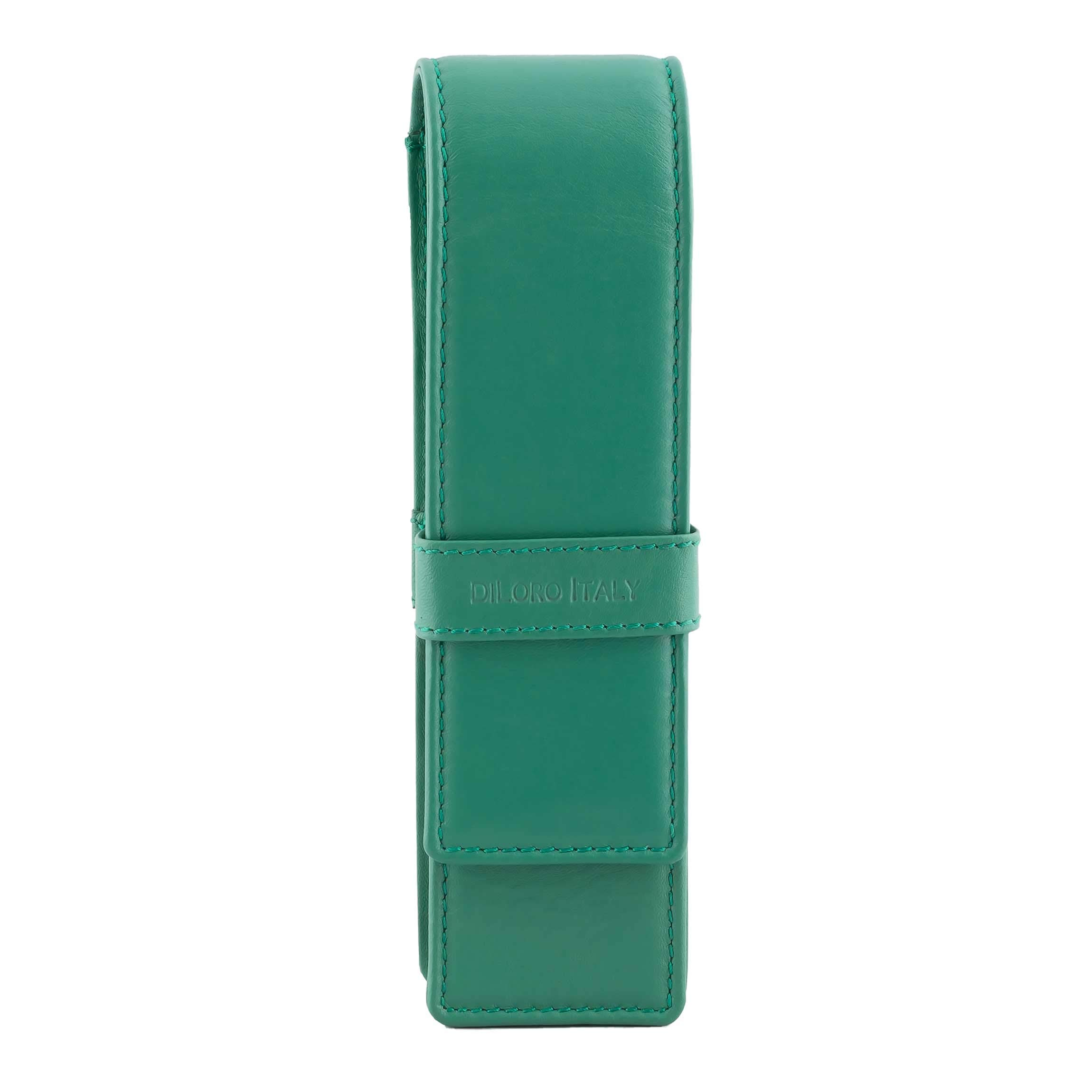 DiLoro Leather Pen Case Pouch Holder for Two Fountain Pens Ballpoint Rollerball Pen or Pencils (Light Green)