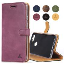 Snakehive Google Pixel 3 XL Case, Luxury Genuine Leather Wallet with Viewing Stand and Card Slots, Flip Cover Gift Boxed and Handmade in Europe for Google Pixel 3 XL - (Plum)