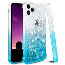 Ruky Glitter Case for iPhone 11 Pro Max Case, Gradient Quicksand Series Bling Flowing Liquid Floating Soft TPU Bumper Cushion Girls Women Case for iPhone 11 Pro Max (Gradient Teal)