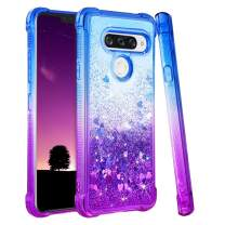 Ruky LG V40 ThinQ Case, LG V40 Glitter Case, Gradient Quicksand Series TPU Bumper Cushion Reinforced Corners Protective Sparkle Bling Liquid Girls Women Cute Case for LG V40 ThinQ (Blue Purple)