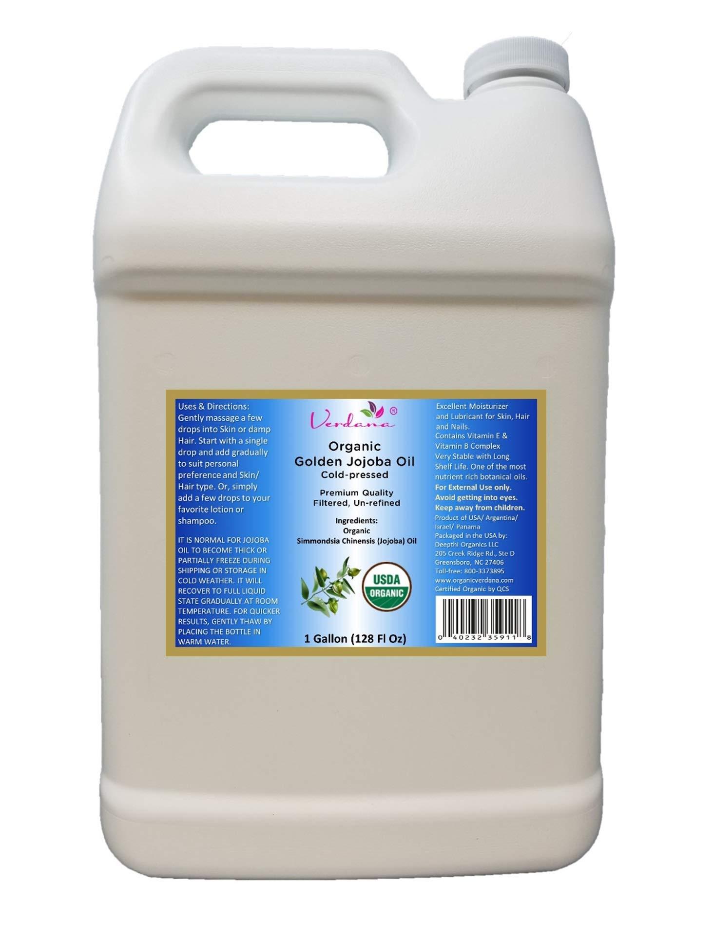 Organic Verdana USDA Certified Organic Golden Jojoba Oil, Cold Pressed, Unrefined, 1 Gallon Bulk size - Deepthi Organics