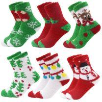 6 Pack Women Christmas Socks Winter Warm Cozy Socks For Women Fuzzy With Plus Size And Anti-Slip Bottom