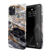 BURGA Phone Case Compatible with iPhone 11 PRO MAX - Black and Gold Marble Stone Cute Case for Girls Thin Design Durable Hard Plastic Protective Case