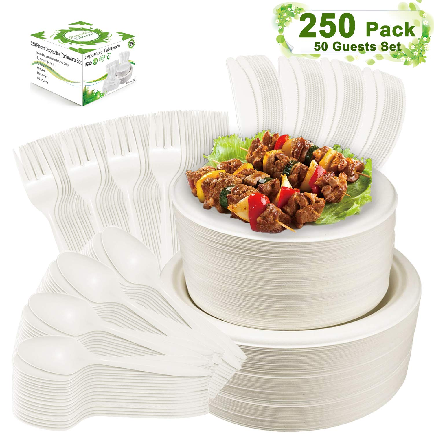 Farieyln-X 250 Pcs Disposable Dinnerware Set Compostable Sugarcane Cutlery Tableware Paper Plates and Dinner Plates, Knives, Spoons and Forks Combo for Birthday Party BBQ Picnic (50 Guests)