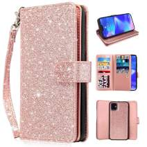 Newseego Compatible iPhone 11 Leather Case (6.1 Inch),Glitter Faux PU Leather Magnetic Closure Multi-Credit Card Slot Cash Holder Detachable 2 in 1 Wallet Cover with Wrist Strap- Rose Gold