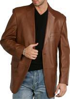 BGSD Men's Richard Classic 2-Button Lambskin Leather Blazer (Regular Big & Tall and Short)