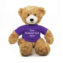 Plushland Beige Brandon Teddy Bear 12 Inch, Stuffed Animal Personalized Gift - Custom Text on Shirt- Great Present for Mothers Day, Valentine Day, Graduation Day, Birthday (Purple Shirt)