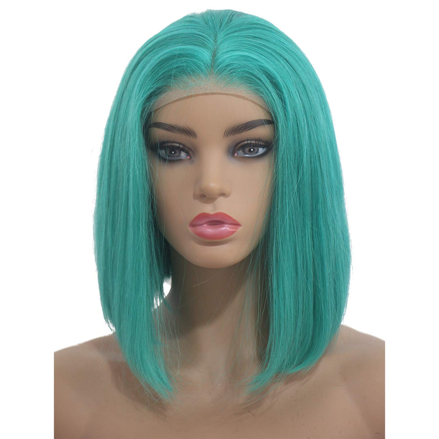 Bob Wigs Lake BLue Brazilian Virgin Human Hair Lace Front Pre Plucked with Baby Hair for Women Glueless 13x4 Straight Short Bob Wig Bleached Knot Middle Part Cut Bob Colored